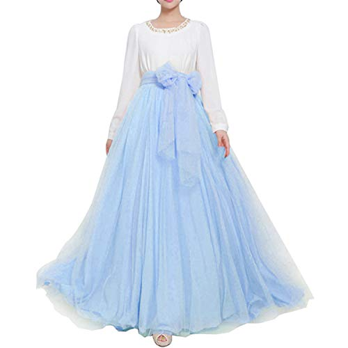 Women Wedding Long Maxi Puffy Tulle Skirt Floor Length A Line with Bowknot Belt High Waisted for Wedding Party Evening (Baby Blue, Plus Size,US 16-26W)