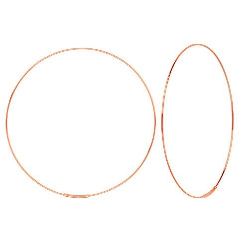 Hawley Street 14k Rose Gold Wire Hoop Earrings 60mm