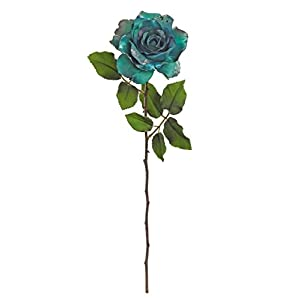"""26"""" Regal Peacock Two-Tone Teal Blue and Glittered Artificial Christmas Rose Floral Stem 85"""