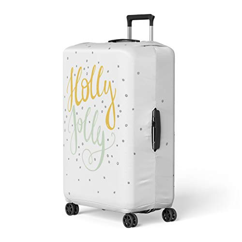 Pinbeam Luggage Cover Word Holly Jolly Unique Perfect for Flyers Travel Suitcase Cover Protector Baggage Case Fits 18-22 inches