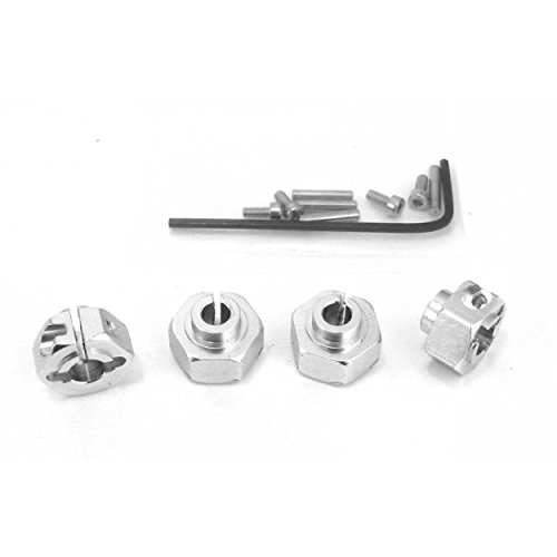 (Hot Racing WK1008 Aluminum 12mm Clamping Hex Wheel Hubs (Silver)(4))