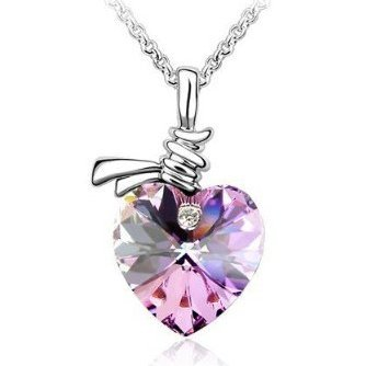 niceeshop(TM) Elegant Crystal Heart Pendant Necklace,Purple