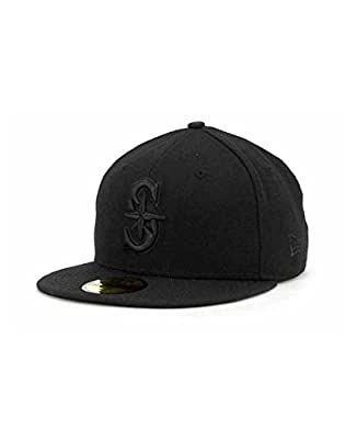 Seattle Mariners New Era 59Fifty Black on Black Fashion Hat Cap (Size 7)
