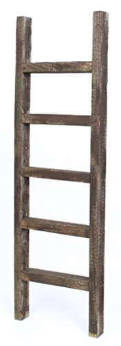 BarnwoodUSA Rustic 4 Foot Decorative Wooden Ladder - 100% Reclaimed Wood, Coffee Brown