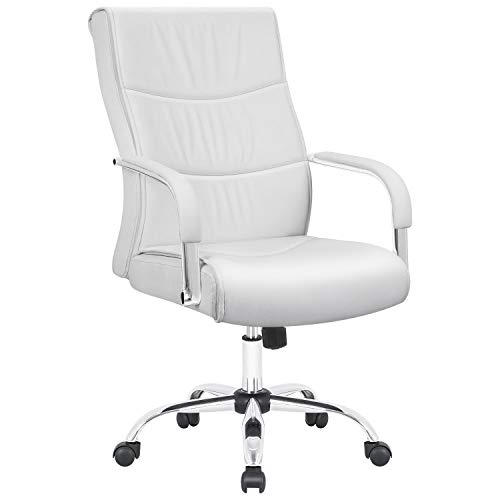 (Furmax High Back Office Desk Chair Conference Leather Executive with Padded Armrests,Adjustable Ergonomic Swivel Task Chair with Lumbar Support(White))