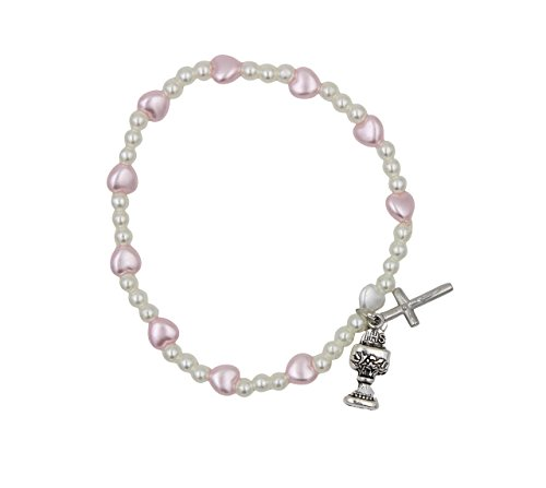 Girl's First Communion Stretch Rosary Bracelet with Heart Shaped Beads with Crucifix and Chalice Charm