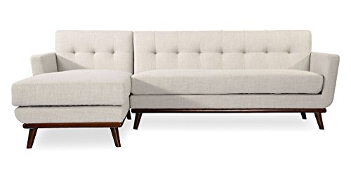 Kardiel Jackie Mid-Century Modern Sectional Sofa Left, Dove Grey Tailored Twill
