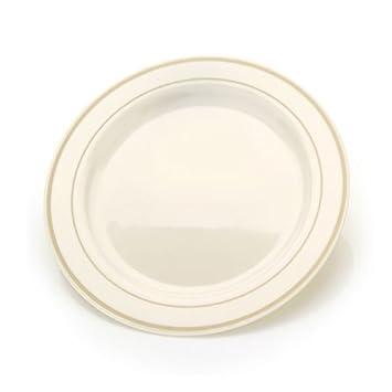 19.05 cm Bone China wie Kunststoff-Teller mit Goldrand, 10 k: Amazon ...