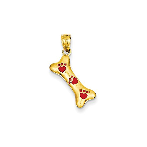 14K Yellow Gold Dog Bone with Red Enamel Paw Prints Charm Pendant