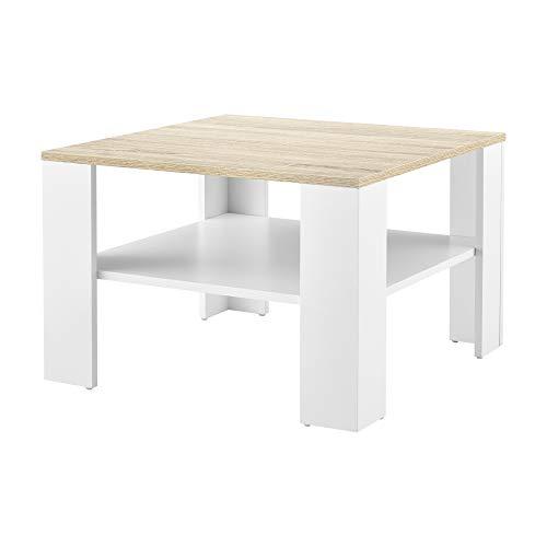[en casa] Mesa de Centro con Estante Inferior 60 x 60 x 40 cm Mesa de te Mesa Auxiliar Mesa de Salon Blanco y Efecto Roble
