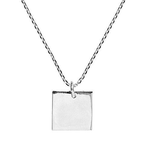AeraVida Plain Geometric Square .925 Sterling Silver Pendant ()