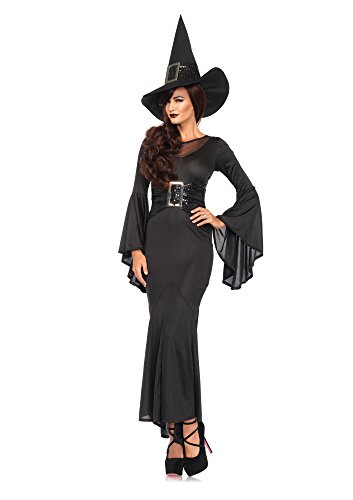 Long Black Witch Dress (Leg Avenue Women's 2 Piece Wickedly Sexy Witch Costume, Black, Medium/Large)