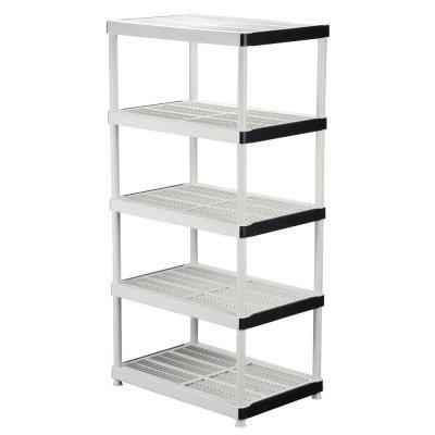 36 in. W x 72 in. H x 24 in. D 5-Shelf Plastic Ventilated Storage Shelving Unit (Hdx 5 Shelf)