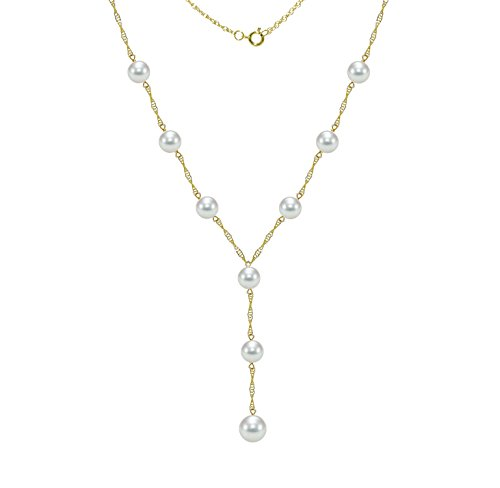 14k Yellow Gold Lariat Tin Cup Station Necklace Saltwater White Akoya Cultured Pearl 6.5-7mm and 8-8.5mm, 18
