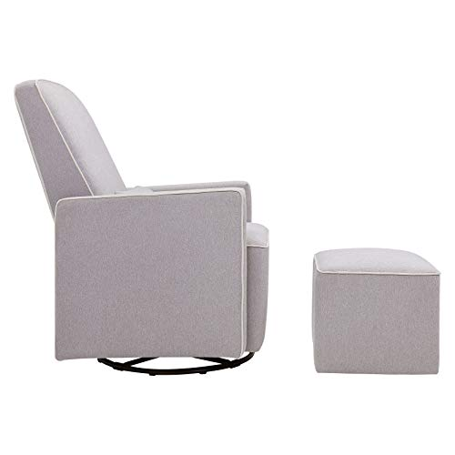 31QINHVK UL - DaVinci Olive Upholstered Swivel Glider With Bonus Ottoman In Grey With Cream Piping, Greenguard Gold Certified