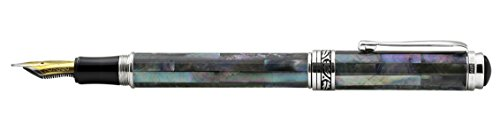 Xezo Maestro Iridescent Natural Black Mother of Pearl Platinum Plated Fine Fountain Pen. No Two Pens Alike by Xezo (Image #3)'