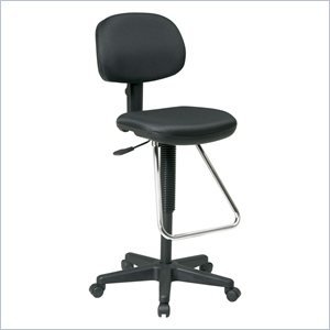DC Economical Chair with Chrome Teardrop Footrest-Black - Dc430 Economical Chair