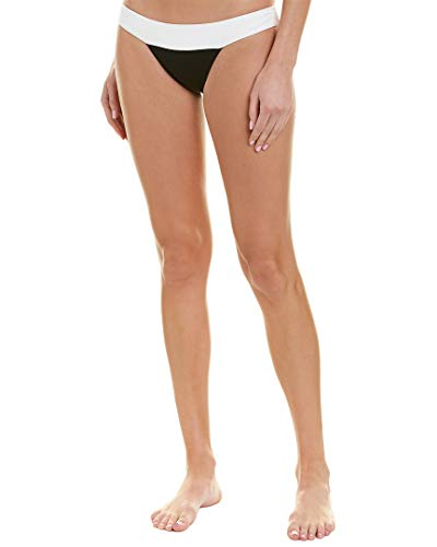 PilyQ Women's Ribbed Banded Bikini Bottom Full Swimsuit, Luna, M