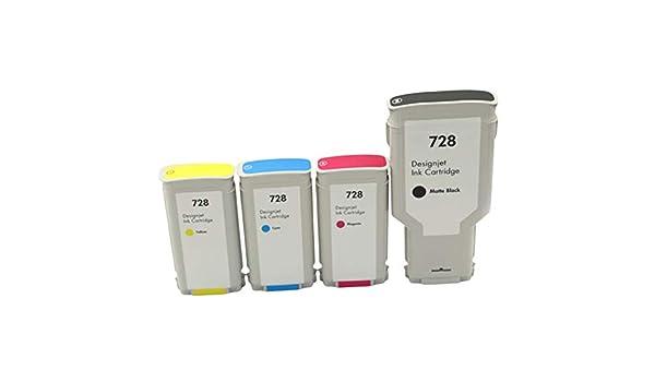 Adecuado para cartucho de tinta Hp728 Hp Designjet T830 T730 Plotter Ink F9j68a, negro 300ml Color 130ml-4colors: Amazon.es: Oficina y papelería