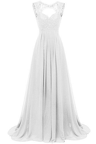 Spitze Für Weiß Carnivalprom Abendkleider Ballkleider Elegant Chiffon Damen Brautjungfer Kleider Hochzeit Lang qxwq61YFt