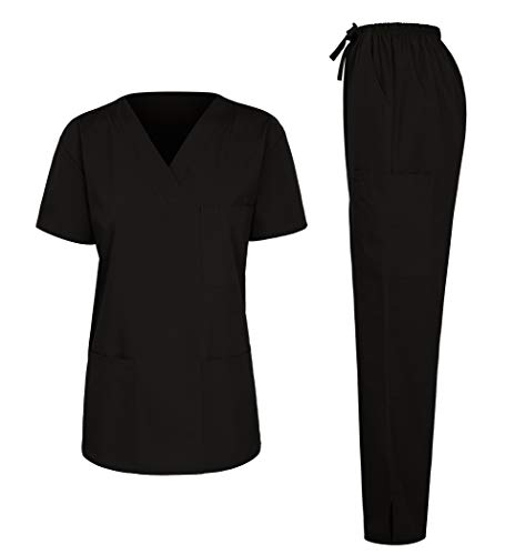 7047 Women's Medical Scrubs Set (V-Neck Top+Drawstring Pant) Black Lagre