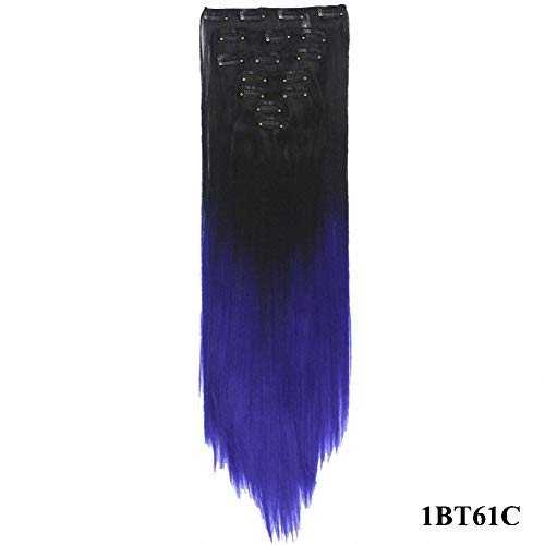 PrettyWit 23-24 Inch Long Clip in on Hair Extensions Ombre Real Thick Double Weft Full Head Straight Hairpiece for Women 7pcs/set-Black to Dark Blue -