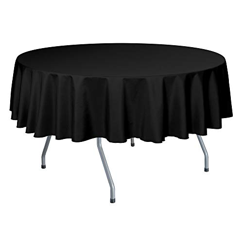 Ultimate Textile -10 Pack- 84-Inch Round Polyester Linen Tablecloth, Black