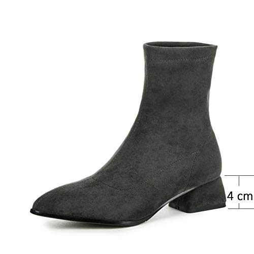 Ankle 1/2 Inch Sexy Boot - SANOMY Women's Suede Ankle Boots Sexy Pointed Toe Chunky Heel Booties Elegant Wedding Party Chelsea Boots