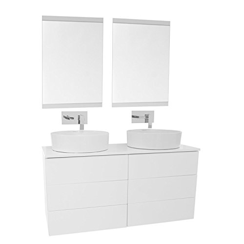"""Iotti Iotti TN1892 Time Double Vessel Sink Bathroom Vanity Wall Mounted with Mirror Included, 47"""", Glossy White 30%OFF"""