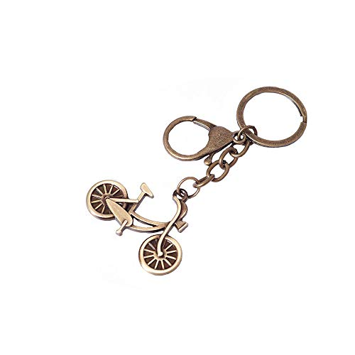Reddream Tiny Bike Keychain Decor Antique Copper Plated Solid Brass Pop Keyring Vintage Pendant Charms for DIY Craft Making Supplies - Brass Plated Keychain