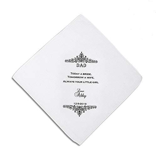 Personalized Father of the Bride the Groom Handkerchief, Wedding Keepsake - Keepsake Hankie