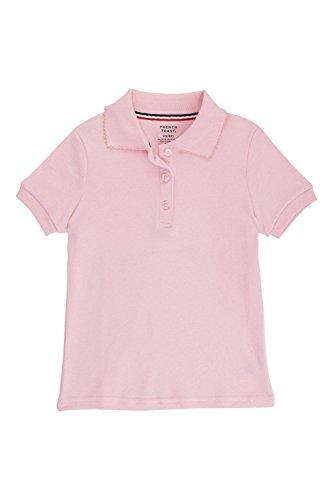 Uniform School (French Toast Big Girls Short Sleeve Picot Collar Interlock Polo, Pink, XXL)