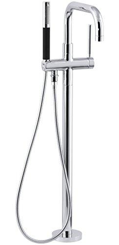 KOHLER K-T97328-4-CP Purist Floor-Mount Bath Filler with Handshower, Polished Chrome