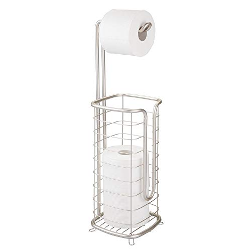 mDesign Metal Free Standing Toilet Paper Holder Stand and Dispenser, with Storage for 3 Spare Rolls of Toilet Tissue While Dispensing 1 Roll for Bathrooms/Powder Rooms - Holds Mega Rolls - Satin