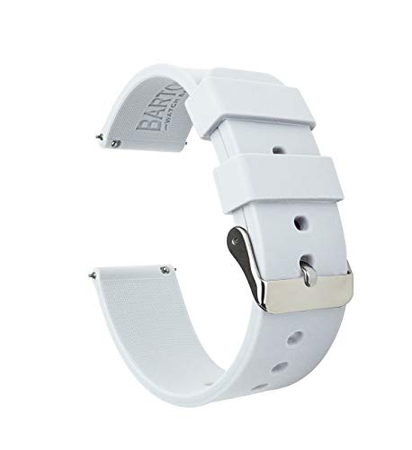 Barton Silicone Watch Bands - Quick Release Straps - Choose Color & Width - 16mm, 18mm, 20mm, 22mm - White 24mm