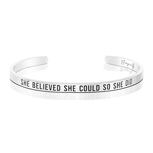 Joycuff She Believed She Could So She Did Bracelet Cuff Engraved High School College Graduation Gifts for Her