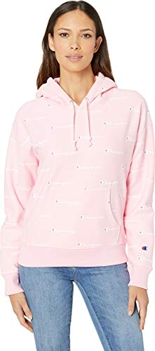 Champion LIFE Women's Printed Reverse Weave Pullover Hood, Champion Script Pink Candy/White - Heavyweight Hoodie Champion