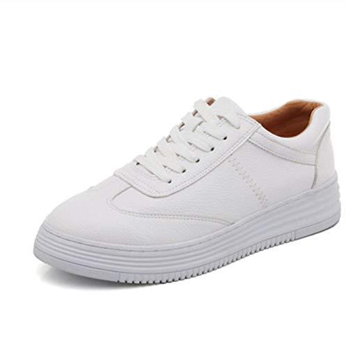 ZHZNVX Zapatos de Mujer de Piel de Vaca con Cordones Zapatillas Planas talón Blanco White
