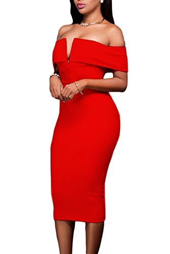 Club V AlvaQ Off The Red Dress Neck Midi Evening Shoulder Women's Sexy Bodycon qEwqzgU