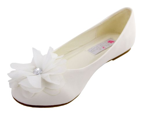 Cinderella Flats with Flower (Childrens 4, White)