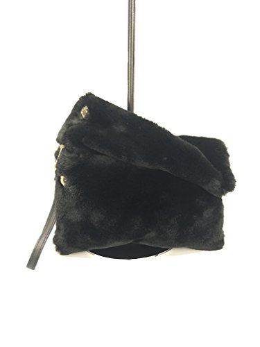 series ABIGAIL GoodCape color fur zipper pocket with bag solid clutch evening Black faux 5H5qZwx