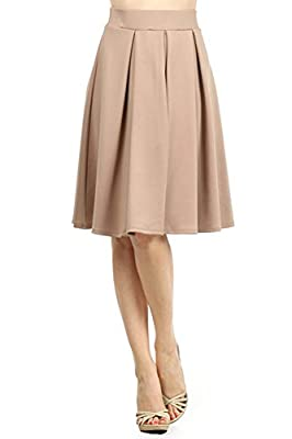 Modern Kiwi Emily Pleated Midi High Waisted Stretch Skirt