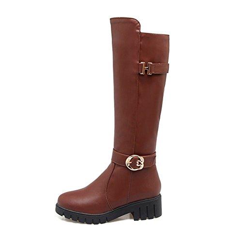 Sole DecoStain Boots Brown Women's Buckle High Knee Platforms Zipper Gear wUIUxqTr