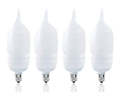 Luxrite LR22052 (4-Pack) 7-Watt CFL Candle Flame Tip Bulb, Equivalent To 25W Incandescent, Cool White 4100K, 300 Lumens, E12 Candelabra Base ()