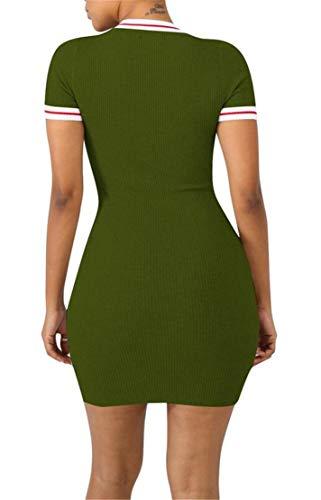 Womens Domple Manica Corta Davanti Legame Casuale Costine Tagliato Partito Mini Vestito Verde