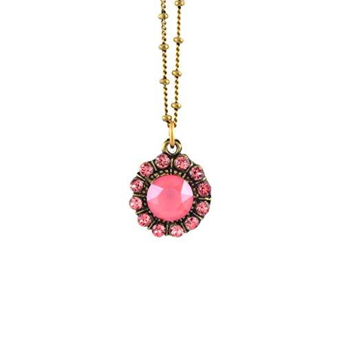 Anne Koplik Round Circle Soft Red Crystal Necklace, Antique Gold Plated Anne Koplik Designer Necklace