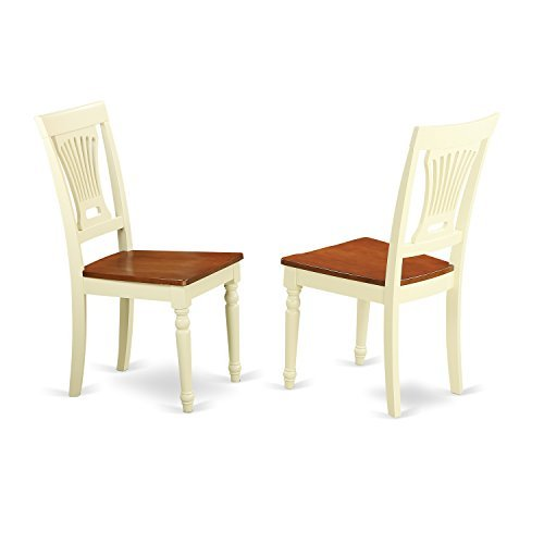 (East West Furniture PVC-WHI-W Kitchen/Dining Chair Set Wood Seat, Buttermilk/Cherry Finish, Set of)