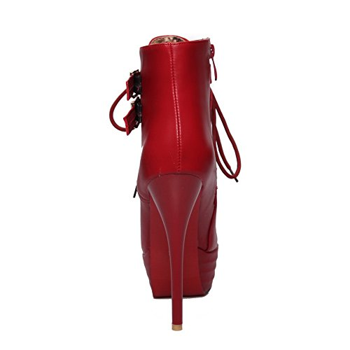 Womens Metal Strap amp;N Red Boots Leather A Stiletto Multilayer Platform Imitated WwB4W1cnA