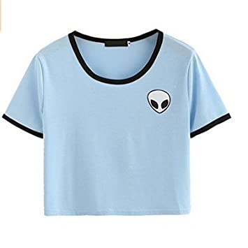 M-G-X Aliens 3d Print Crop Short Sleeve T-shirt Tops Women Casual T-shirt