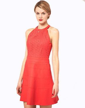 e01e0397c4b Karen Millen Fit   Flare Halter Dress Size 6 RRP £175 Coral  Amazon.co.uk   Clothing